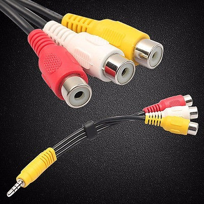 mini cable 3.5 a 3 rca hemb plug cable adaptador audio video