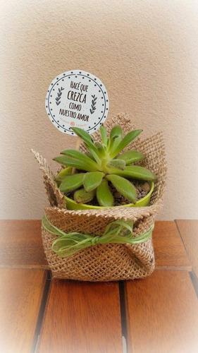 mini cactus,suculentas,souvenir de yute decorado env isiflor