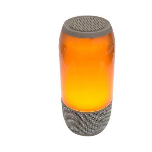mini caixa de som pulse 3 led rgb portátil bluetooth prata