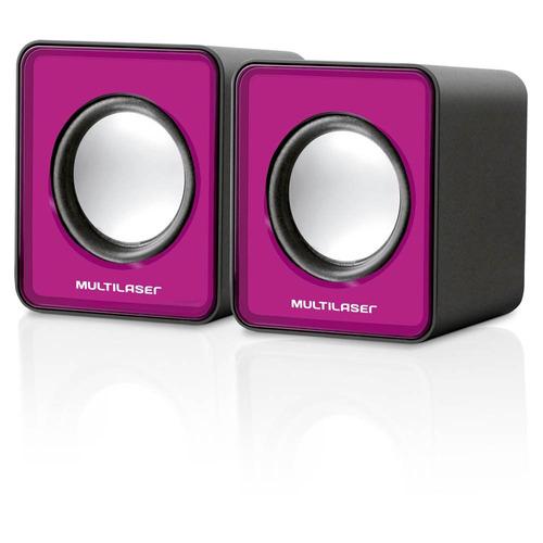 mini caixa de som rosa pc e notebook 3w rms multilaser sp198