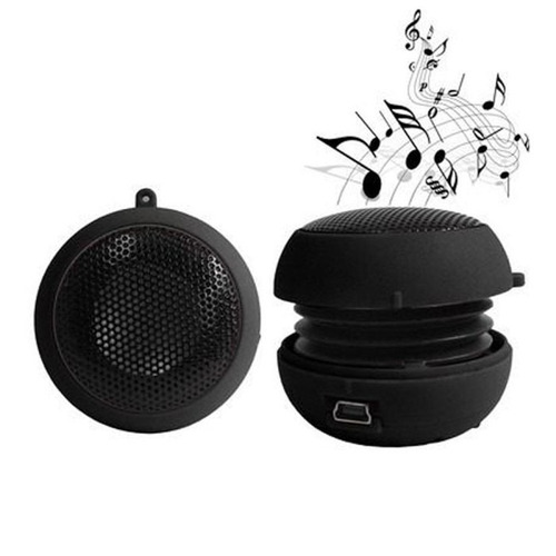mini caixa som speaker bass portátil usb p2 hambúrguer 2w