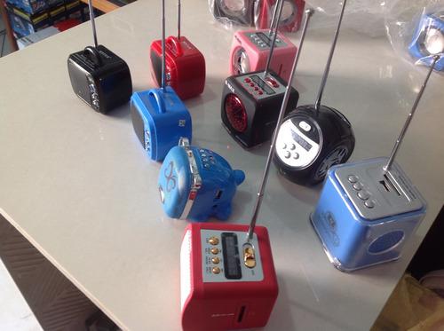 mini caixas de som portátil c/fm pendrive-sdhc-diversos