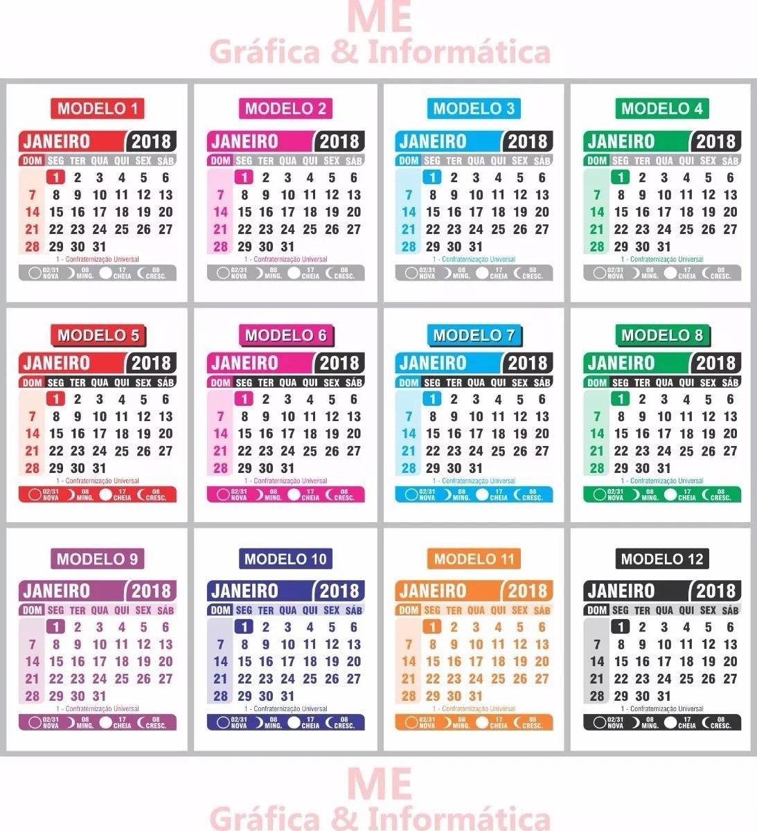 Mini Calendário 2018 1000unid 5x5cm Diversos Modelos Cores