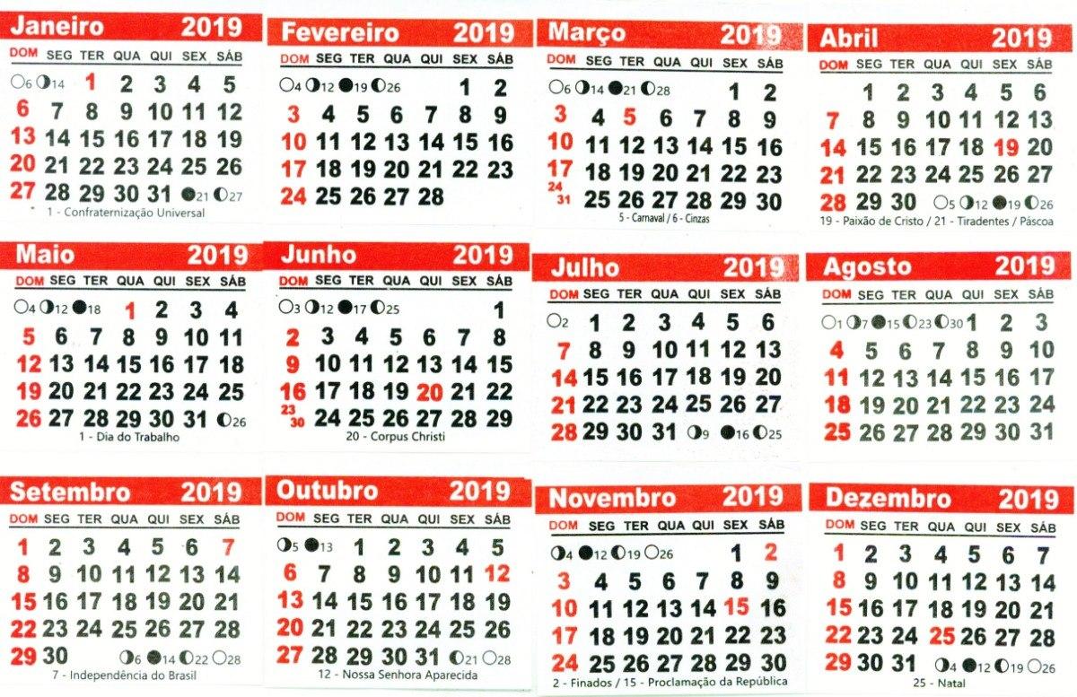 Calendario 2019.Mini Calendario 2019 Bloco 1500 Un Mais 1500 Saquinhos