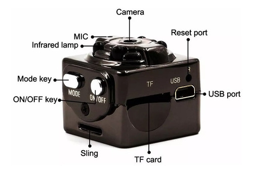mini cámara oculta espía v/nocturna full hd, sensor movimien