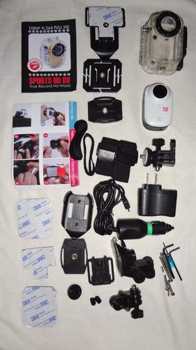 mini cámara tipo go pro hd 1080 p con sus accesorios