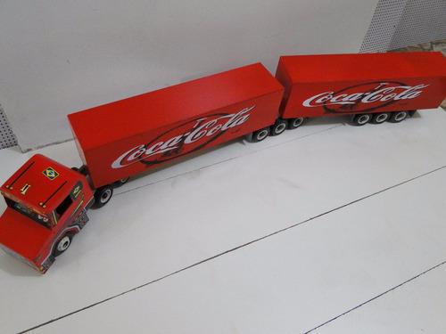 mini caminhão brinquedo bitrem bau coca cola 9 eixos scania