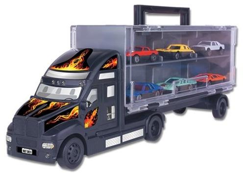 mini caminhão carreta + 6 carrinhos 1:64 braskit nacional