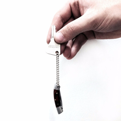 mini canivete chaveiro em aço inox com cabo madeira nautika