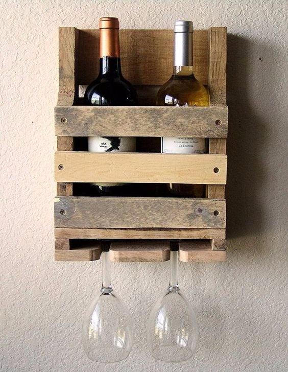 Mini cantina porta botellas madera de pallets env o gratis - Porta vino ikea ...