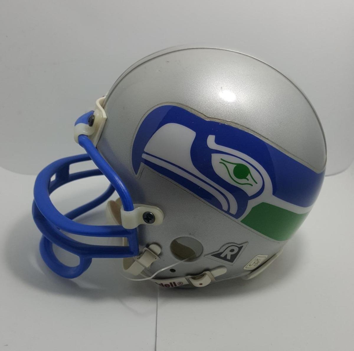 879f525204037 mini capacete futebol americano nfl - seattle seahawks prata. Carregando  zoom.