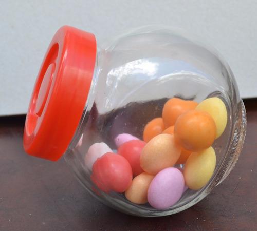 mini caramelera de vidrio c/tapa plástica - ideal souvenirs