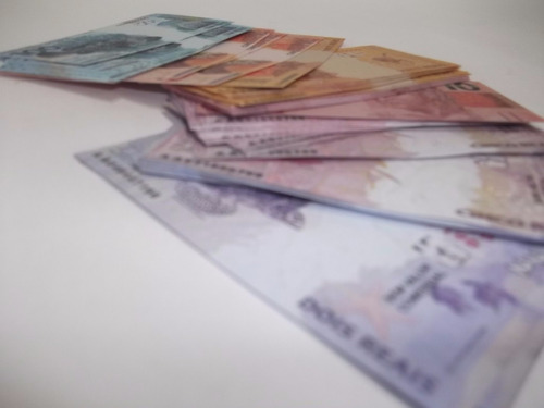 mini cédulas de real - dinheiro didático 100 pçs. 10x5cm