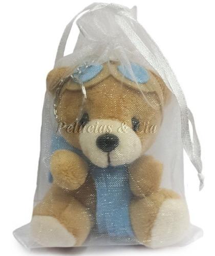 mini chaveiro urso aviador baby - lembrancinha 20 peças