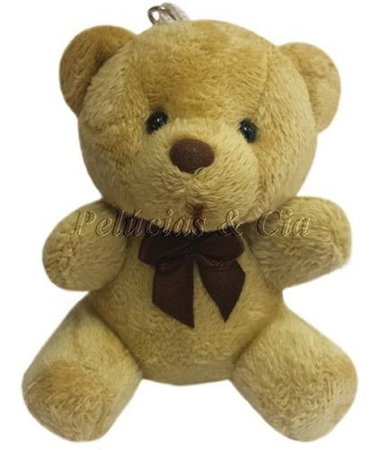 mini chaveiro urso de pelúcia marrom com laço jogo 12 peças