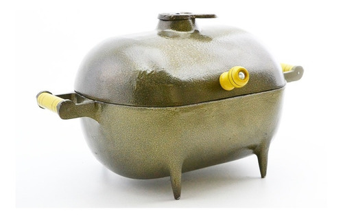 mini churrasqueira a bafo alumínio fundido craqueada dourada