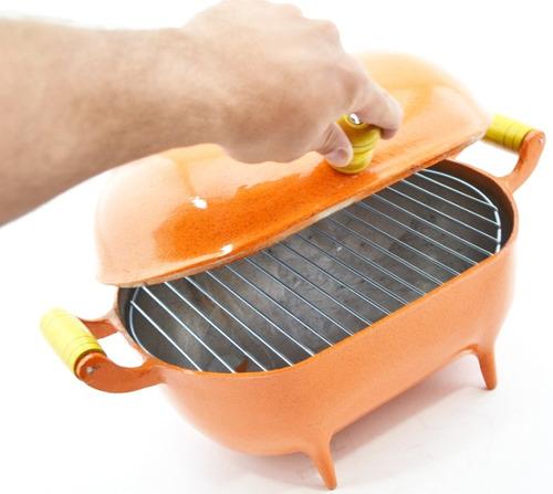 mini churrasqueira a bafo alumínio fundido craqueada laranja