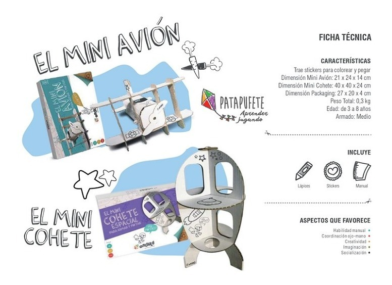 Mini Cohete De Carton Reciclado Para Armar Y Pintar