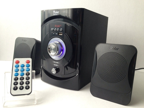 mini componente subwoofer mp3 usb 2 bocinas control radio fm