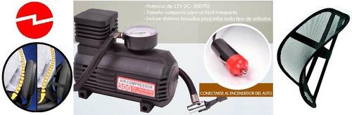 mini compresor aire 12v/300lb + accesorios -nuevo