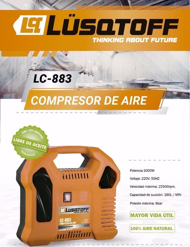 mini compresor aire portatil lusqtoff + kit 10 pz inflar