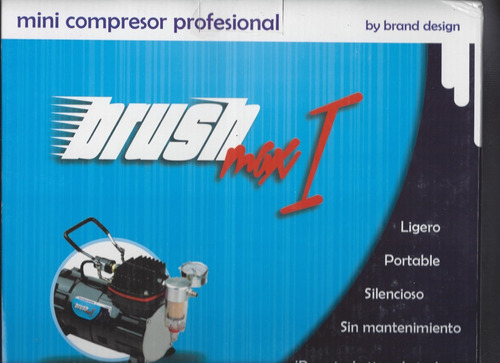 mini compresor brush max i 1/5 hp profesional aerografo