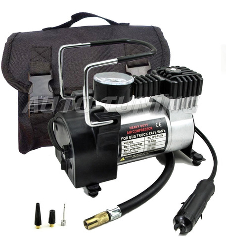 mini compresor metalico infla en 1.5minutos + bolso guardado