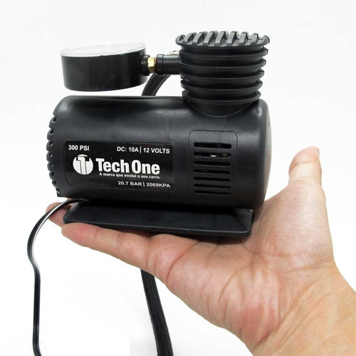 mini compressor ar automotivo portátil 300 psi tech one 12v