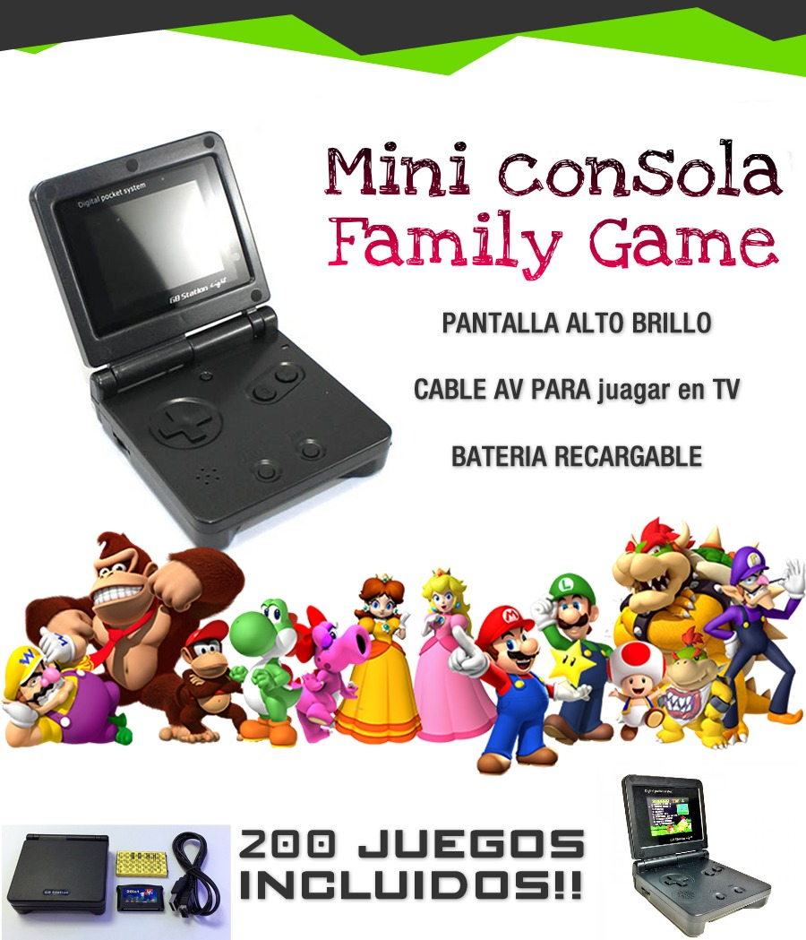 Mini Consola Family Game Portatil Recargable 200 Juegos Usb