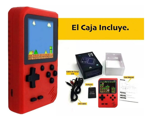 mini consola retro portatil tipo game boy 168 juegos play av