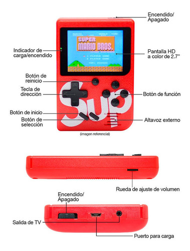 mini consola retro sup game 400 juegos en 1