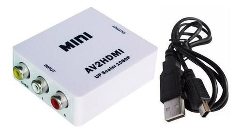 mini conversor av 3rca para hdmi up scaler 1080p