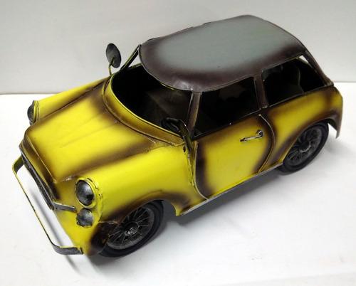 mini cooper auto de chapa miniatura decorativa