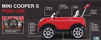 mini cooper push car con guía