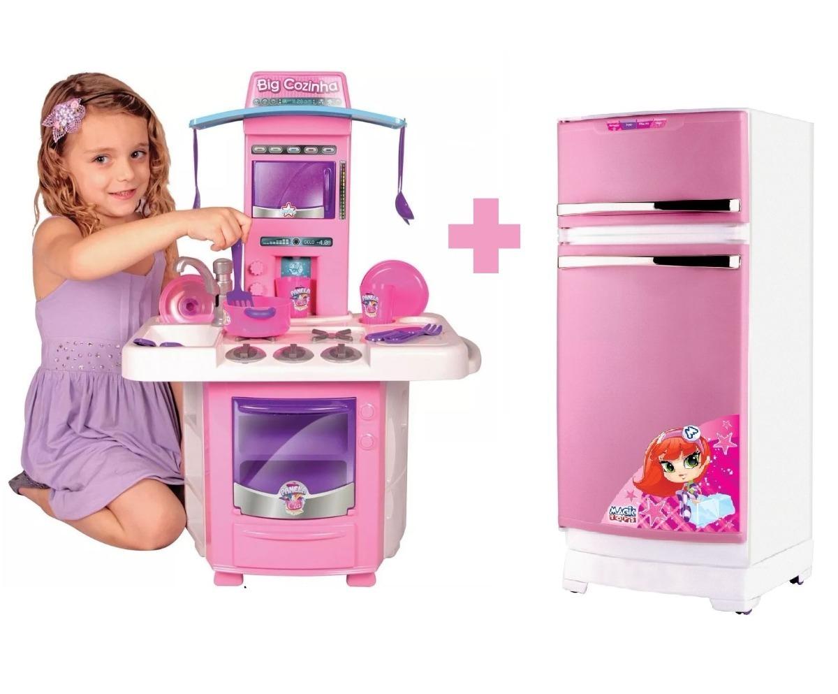 Mini Cozinha Infantil Completa Geladeira M Gica Rosa Linda R
