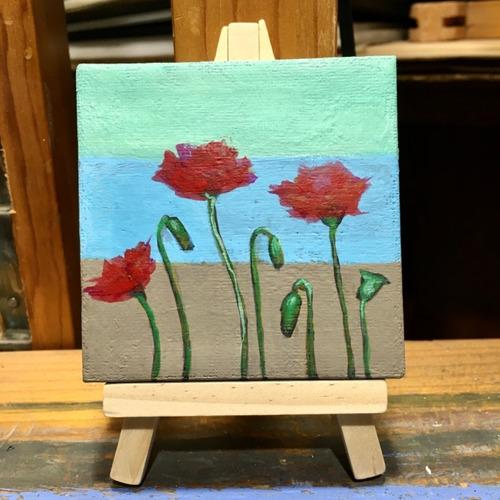 mini cuadro original decorativo con flores de amapola