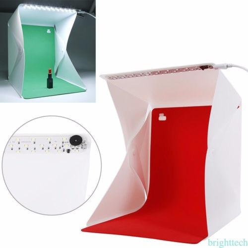 mini cubo caja  iluminación fotográfica 26  leds 4 fondos