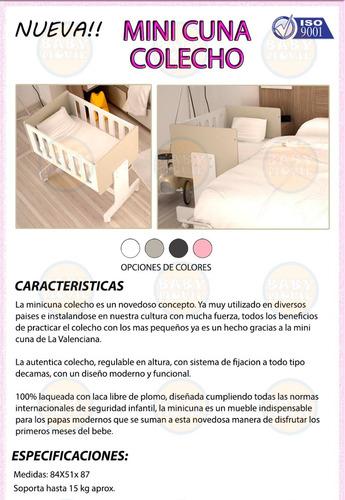 mini cuna moises colecho la valenziana + colchón y acolchado