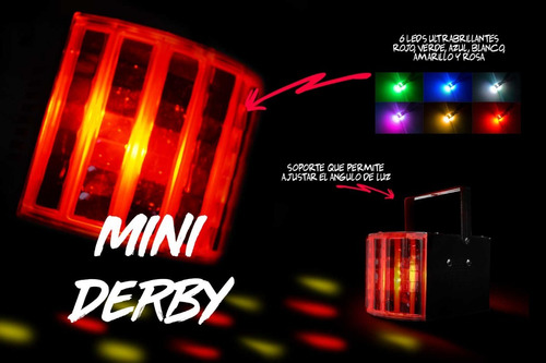 mini derby luces dj  23w dmx automatico audioritmico 6 leds