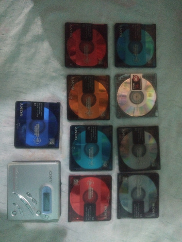 mini discman walkman sony mz-r500 + 9 discos