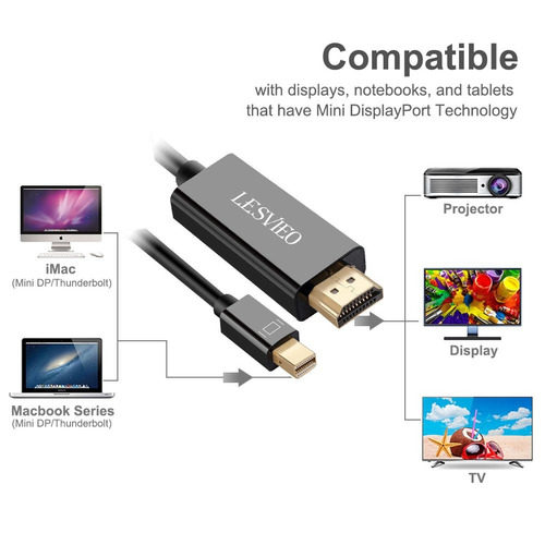 mini displayport a hdmi cable 10 ft, lesvieo mini dp a hdmi
