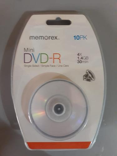 mini dvd-r memorex 4x 1.4gb 30minutos paquete 10 unidades