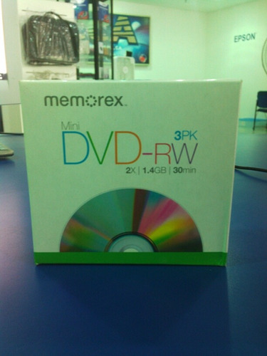 mini dvd-rw 30 min. 1.4gb. memorex 3 pck