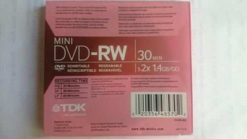 mini dvd-rw tdk (regrabable) precio publicado real