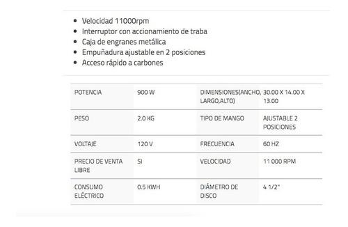 mini esmeriladora 4 1/2 pulg 900 w uso pesado urrea - ea804