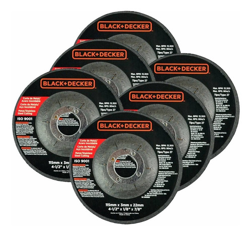 mini esmeriladora de 4-1/2'' + 7 discos g720 black+decker