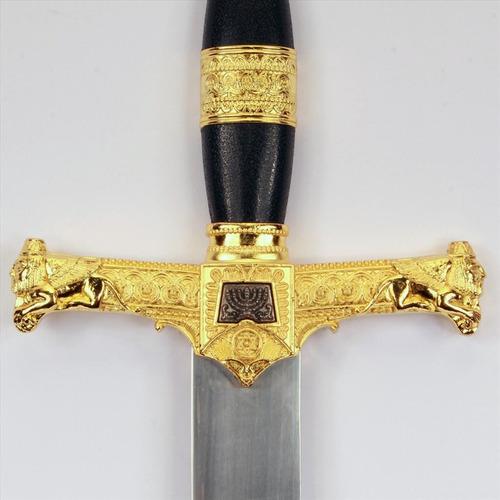 mini espada dourada rei davi medieval coleção bainha preta