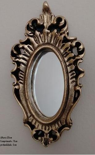 mini espelho com moldura em ouro envelhecido