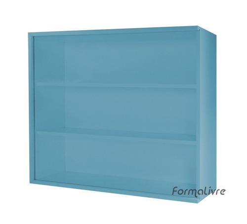 mini estante vitrine coleções e miniaturas - azul laca