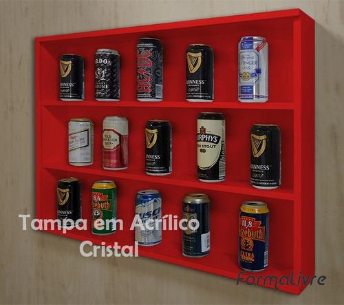 mini estante vitrine coleções miniaturas cervejas vermelho